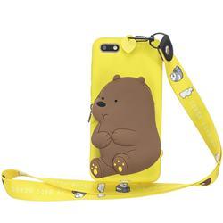 Yellow Bear Neck Lanyard Zipper Wallet Silicone Case for Huawei Y5 Prime 2018 (Y5 2018 / Y5 Lite 2018)