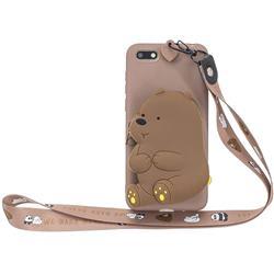 Brown Bear Neck Lanyard Zipper Wallet Silicone Case for Huawei Y5 Prime 2018 (Y5 2018 / Y5 Lite 2018)
