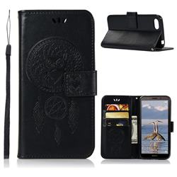 Intricate Embossing Owl Campanula Leather Wallet Case for Huawei Y5 Prime 2018 (Y5 2018 / Y5 Lite 2018) - Black
