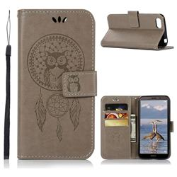 Intricate Embossing Owl Campanula Leather Wallet Case for Huawei Y5 Prime 2018 (Y5 2018 / Y5 Lite 2018) - Grey
