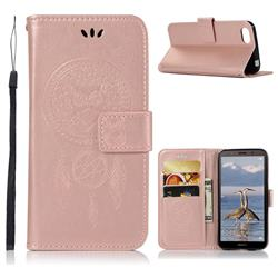 Intricate Embossing Owl Campanula Leather Wallet Case for Huawei Y5 Prime 2018 (Y5 2018 / Y5 Lite 2018) - Rose Gold