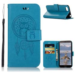Intricate Embossing Owl Campanula Leather Wallet Case for Huawei Y5 Prime 2018 (Y5 2018 / Y5 Lite 2018) - Blue