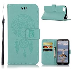 Intricate Embossing Owl Campanula Leather Wallet Case for Huawei Y5 Prime 2018 (Y5 2018 / Y5 Lite 2018) - Green