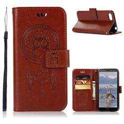 Intricate Embossing Owl Campanula Leather Wallet Case for Huawei Y5 Prime 2018 (Y5 2018 / Y5 Lite 2018) - Brown