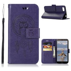 Intricate Embossing Owl Campanula Leather Wallet Case for Huawei Y5 Prime 2018 (Y5 2018 / Y5 Lite 2018) - Purple