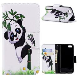 Bamboo Panda Leather Wallet Case for Huawei Y5 Prime 2018 (Y5 2018 / Y5 Lite 2018)