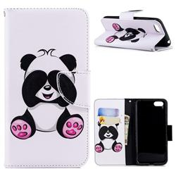 Lovely Panda Leather Wallet Case for Huawei Y5 Prime 2018 (Y5 2018 / Y5 Lite 2018)