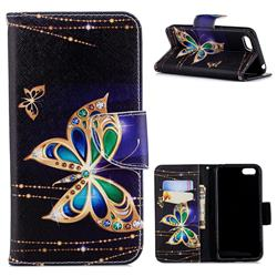 Golden Shining Butterfly Leather Wallet Case for Huawei Y5 Prime 2018 (Y5 2018)