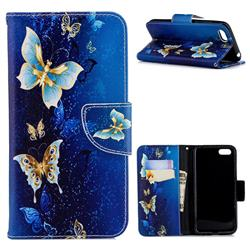 Golden Butterflies Leather Wallet Case for Huawei Y5 Prime 2018 (Y5 2018 / Y5 Lite 2018)