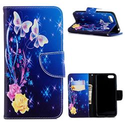 Yellow Flower Butterfly Leather Wallet Case for Huawei Y5 Prime 2018 (Y5 2018 / Y5 Lite 2018)