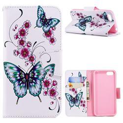 Peach Butterflies Leather Wallet Case for Huawei Y5 Prime 2018 (Y5 2018 / Y5 Lite 2018)