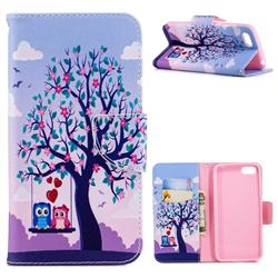 Tree and Owls Leather Wallet Case for Huawei Y5 Prime 2018 (Y5 2018 / Y5 Lite 2018)