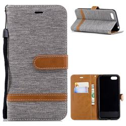 Jeans Cowboy Denim Leather Wallet Case for Huawei Y5 Prime 2018 (Y5 2018) - Gray