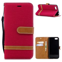 Jeans Cowboy Denim Leather Wallet Case for Huawei Y5 Prime 2018 (Y5 2018) - Red