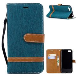 Jeans Cowboy Denim Leather Wallet Case for Huawei Y5 Prime 2018 (Y5 2018) - Green