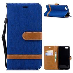 Jeans Cowboy Denim Leather Wallet Case for Huawei Y5 Prime 2018 (Y5 2018) - Sapphire