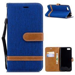 Jeans Cowboy Denim Leather Wallet Case for Huawei Y5 Prime 2018 (Y5 2018 / Y5 Lite 2018) - Sapphire
