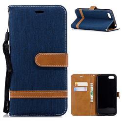 Jeans Cowboy Denim Leather Wallet Case for Huawei Y5 Prime 2018 (Y5 2018 / Y5 Lite 2018) - Dark Blue