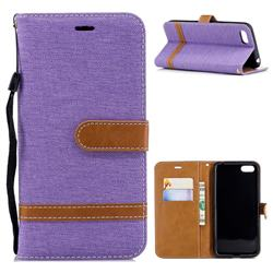 Jeans Cowboy Denim Leather Wallet Case for Huawei Y5 Prime 2018 (Y5 2018) - Purple