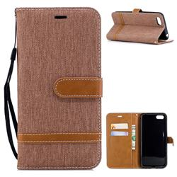 Jeans Cowboy Denim Leather Wallet Case for Huawei Y5 Prime 2018 (Y5 2018) - Brown
