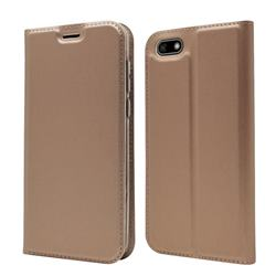 Ultra Slim Card Magnetic Automatic Suction Leather Wallet Case for Huawei Y5 Prime 2018 (Y5 2018 / Y5 Lite 2018) - Rose Gold