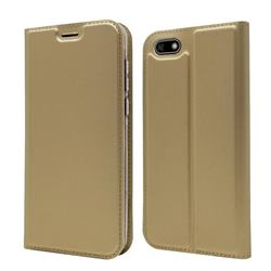 Ultra Slim Card Magnetic Automatic Suction Leather Wallet Case for Huawei Y5 Prime 2018 (Y5 2018 / Y5 Lite 2018) - Champagne