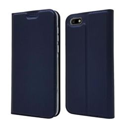 Ultra Slim Card Magnetic Automatic Suction Leather Wallet Case for Huawei Y5 Prime 2018 (Y5 2018 / Y5 Lite 2018) - Royal Blue