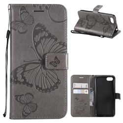 Embossing 3D Butterfly Leather Wallet Case for Huawei Y5 Prime 2018 (Y5 2018 / Y5 Lite 2018) - Gray