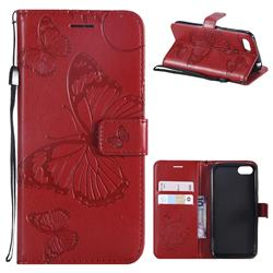 Embossing 3D Butterfly Leather Wallet Case for Huawei Y5 Prime 2018 (Y5 2018 / Y5 Lite 2018) - Red