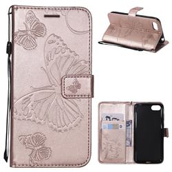Embossing 3D Butterfly Leather Wallet Case for Huawei Y5 Prime 2018 (Y5 2018 / Y5 Lite 2018) - Rose Gold