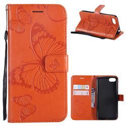 Embossing 3D Butterfly Leather Wallet Case for Huawei Y5 Prime 2018 (Y5 2018 / Y5 Lite 2018) - Orange
