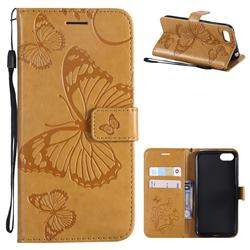 Embossing 3D Butterfly Leather Wallet Case for Huawei Y5 Prime 2018 (Y5 2018 / Y5 Lite 2018) - Yellow
