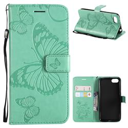 Embossing 3D Butterfly Leather Wallet Case for Huawei Y5 Prime 2018 (Y5 2018 / Y5 Lite 2018) - Green