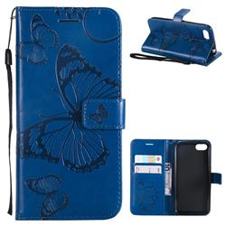 Embossing 3D Butterfly Leather Wallet Case for Huawei Y5 Prime 2018 (Y5 2018 / Y5 Lite 2018) - Blue
