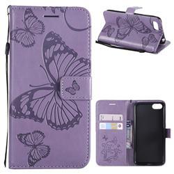 Embossing 3D Butterfly Leather Wallet Case for Huawei Y5 Prime 2018 (Y5 2018 / Y5 Lite 2018) - Purple