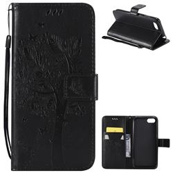 Embossing Butterfly Tree Leather Wallet Case for Huawei Y5 Prime 2018 (Y5 2018 / Y5 Lite 2018) - Black