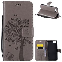 Embossing Butterfly Tree Leather Wallet Case for Huawei Y5 Prime 2018 (Y5 2018 / Y5 Lite 2018) - Grey