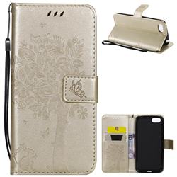 Embossing Butterfly Tree Leather Wallet Case for Huawei Y5 Prime 2018 (Y5 2018 / Y5 Lite 2018) - Champagne
