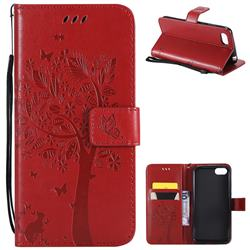 Embossing Butterfly Tree Leather Wallet Case for Huawei Y5 Prime 2018 (Y5 2018 / Y5 Lite 2018) - Red