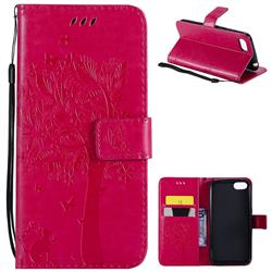 Embossing Butterfly Tree Leather Wallet Case for Huawei Y5 Prime 2018 (Y5 2018 / Y5 Lite 2018) - Rose