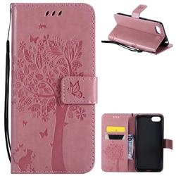 Embossing Butterfly Tree Leather Wallet Case for Huawei Y5 Prime 2018 (Y5 2018 / Y5 Lite 2018) - Pink