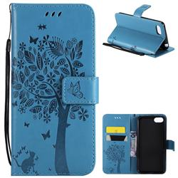 Embossing Butterfly Tree Leather Wallet Case for Huawei Y5 Prime 2018 (Y5 2018 / Y5 Lite 2018) - Blue
