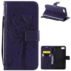 Embossing Butterfly Tree Leather Wallet Case for Huawei Y5 Prime 2018 (Y5 2018 / Y5 Lite 2018) - Purple