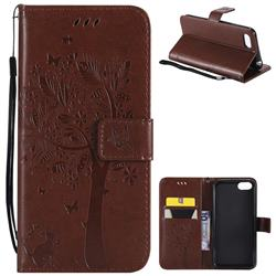 Embossing Butterfly Tree Leather Wallet Case for Huawei Y5 Prime 2018 (Y5 2018 / Y5 Lite 2018) - Brown
