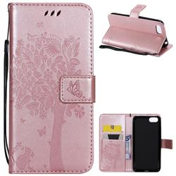 Embossing Butterfly Tree Leather Wallet Case for Huawei Y5 Prime 2018 (Y5 2018 / Y5 Lite 2018) - Rose Pink