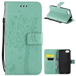 Embossing Butterfly Tree Leather Wallet Case for Huawei Y5 Prime 2018 (Y5 2018 / Y5 Lite 2018) - Cyan