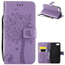 Embossing Butterfly Tree Leather Wallet Case for Huawei Y5 Prime 2018 (Y5 2018 / Y5 Lite 2018) - Violet