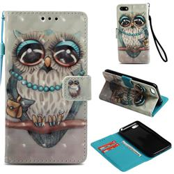 Sweet Gray Owl 3D Painted Leather Wallet Case for Huawei Y5 Prime 2018 (Y5 2018 / Y5 Lite 2018)