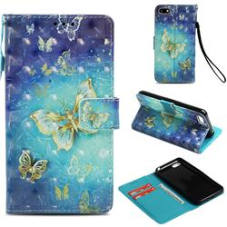 Gold Butterfly 3D Painted Leather Wallet Case for Huawei Y5 Prime 2018 (Y5 2018 / Y5 Lite 2018)