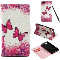 Rose Butterfly 3D Painted Leather Wallet Case for Huawei Y5 Prime 2018 (Y5 2018 / Y5 Lite 2018)